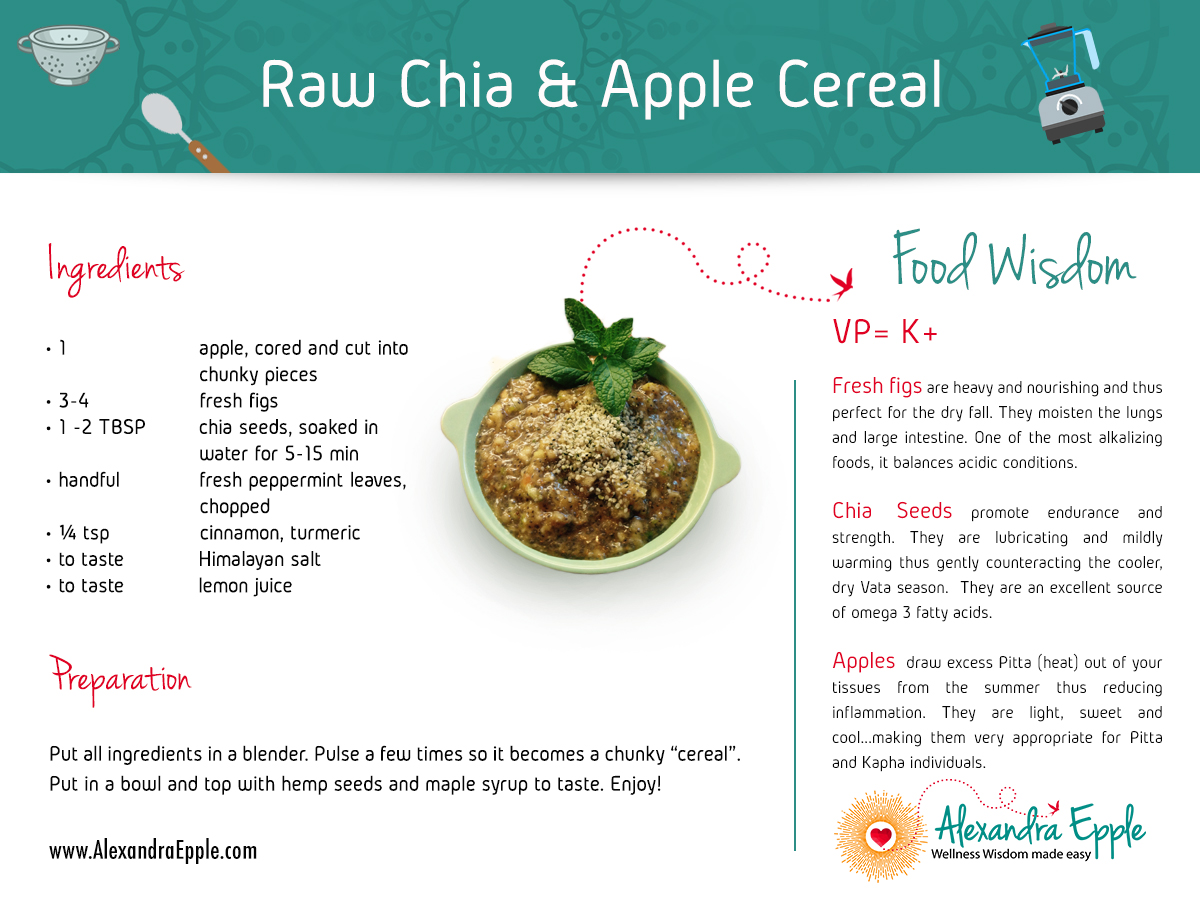Raw chia and apple cereal